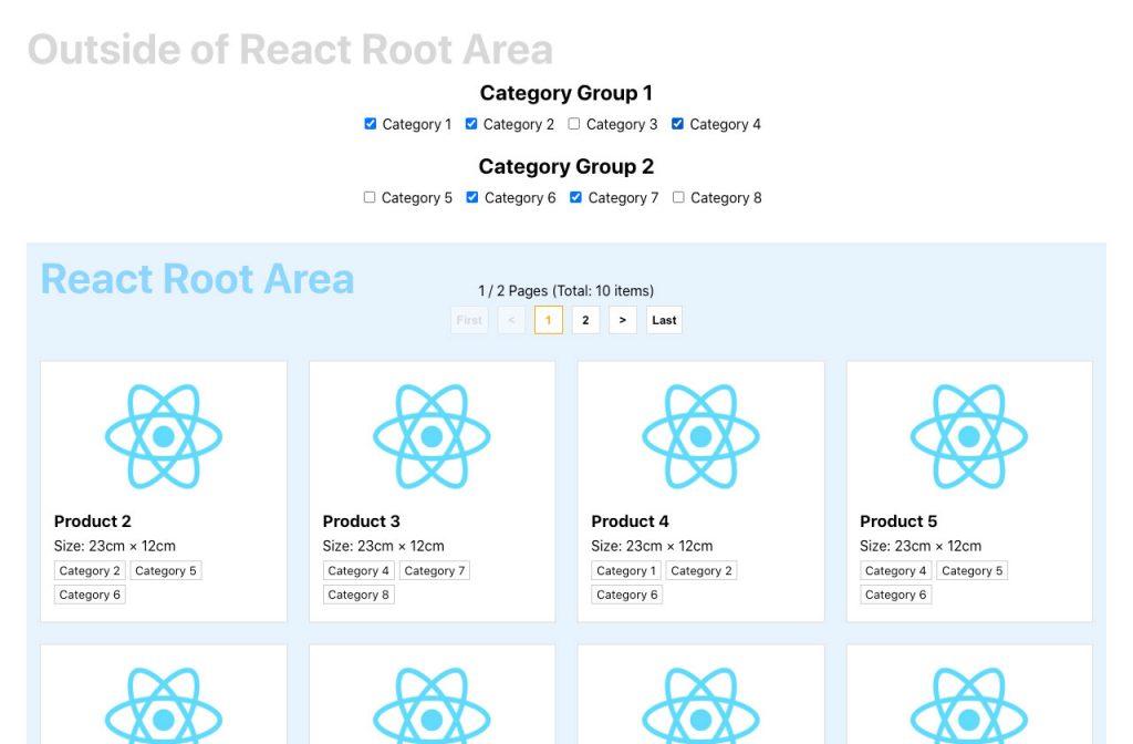 Reactを部分導入する場合にReact root外の要素と連携する